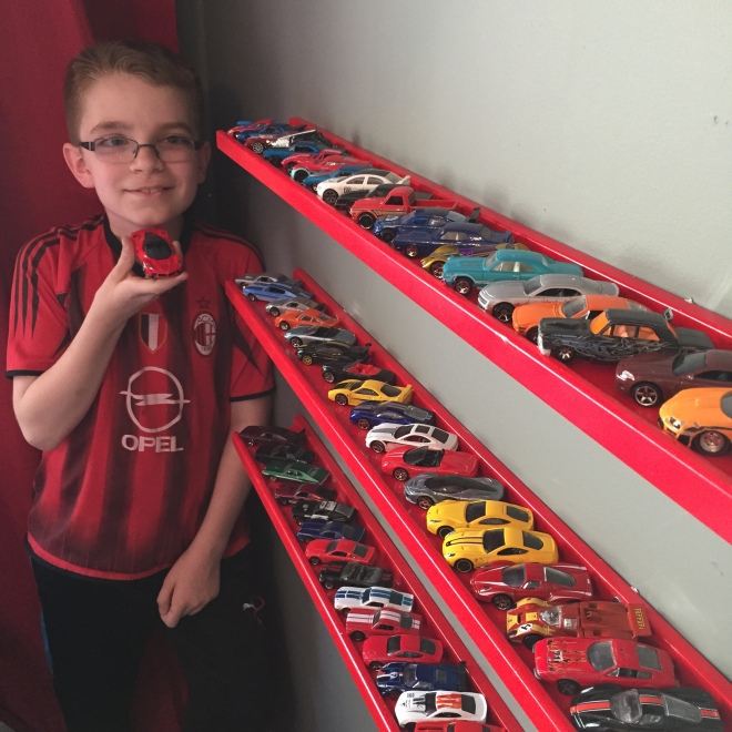 Joey's room with his wall of cars!